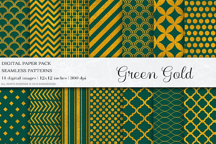 Green Gold Digital Papers, Gold Geometric Patterns