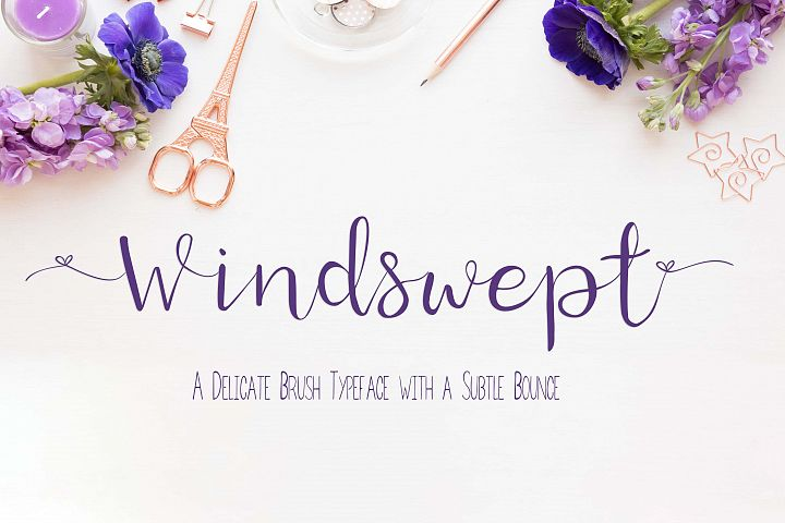 Windswept, a Brush script font