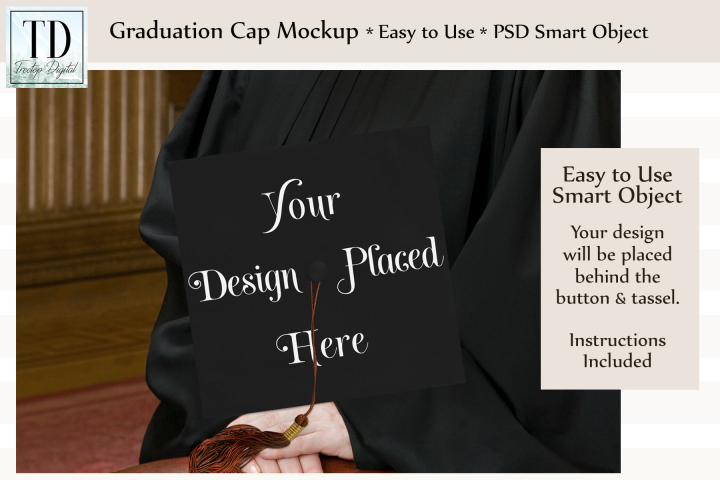 Graduation Cap Mockup, A Cap & Gown Mockup with Smart Object