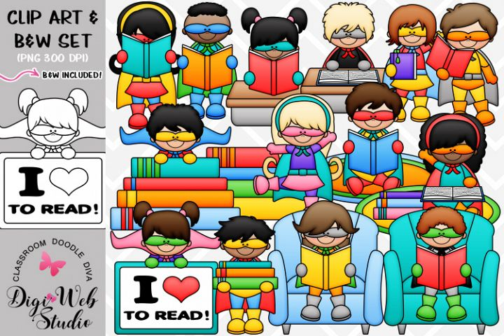 Clip Art / Illustrations - Reading Superheroes