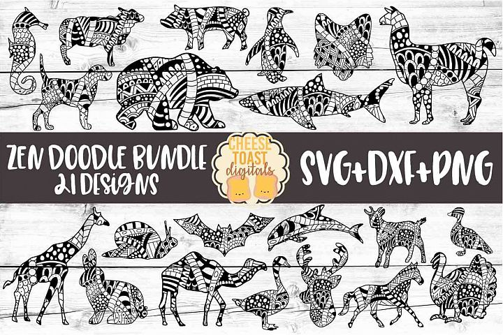 Animal Zen Doodle Art Bundle - 21 Designs SVG PNG DXF Files