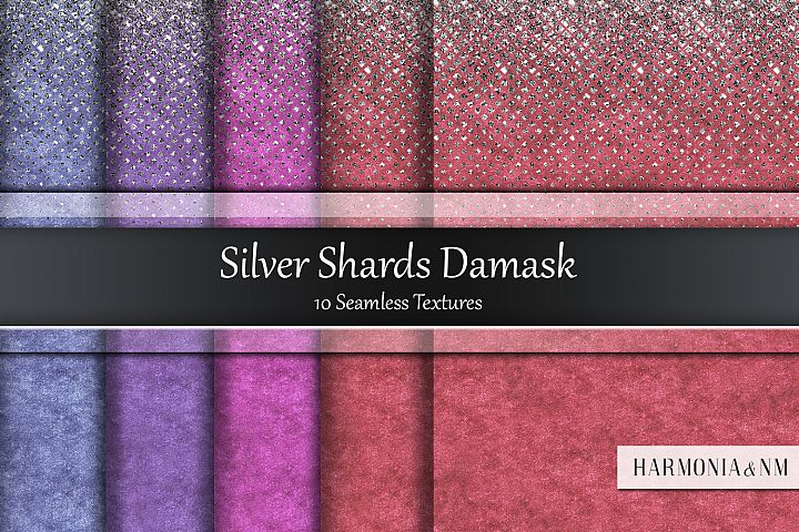 Silver Shards Damask 10 Seamless Textures