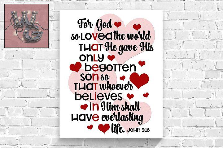 John 3 16 Valentine SVG DFX PNG EPS JPEG Comm