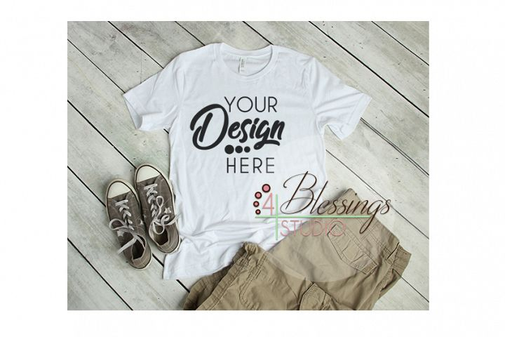 Mens Shirt White Flat Lay T Shirt Bella Canvas Mockup JPG