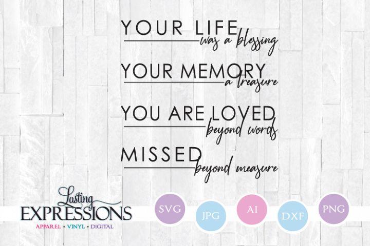 Memorial Quote // Missed beyond measure // SVG Quote Design