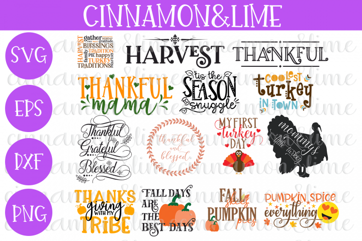 Thanksgiving Fall Bundle of 14 SVG Cut Files