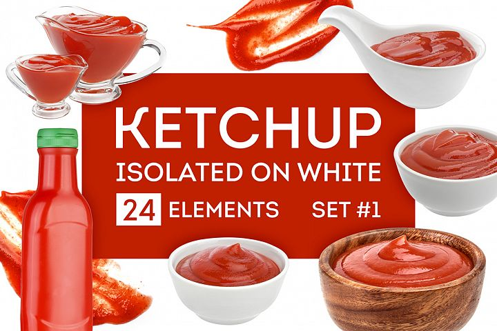 Ketchup bundle, isolated on white