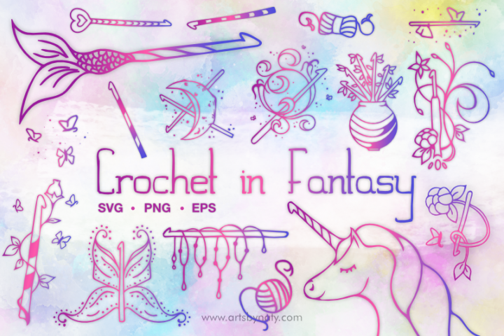 Crochet Hooks in Fantasy SVG Illustration pack.