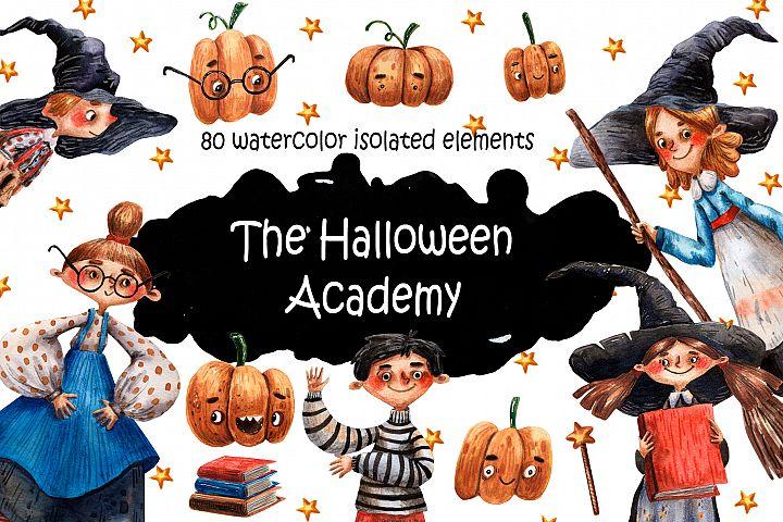 The Halloween Academy - Watercolor Clip Art Set