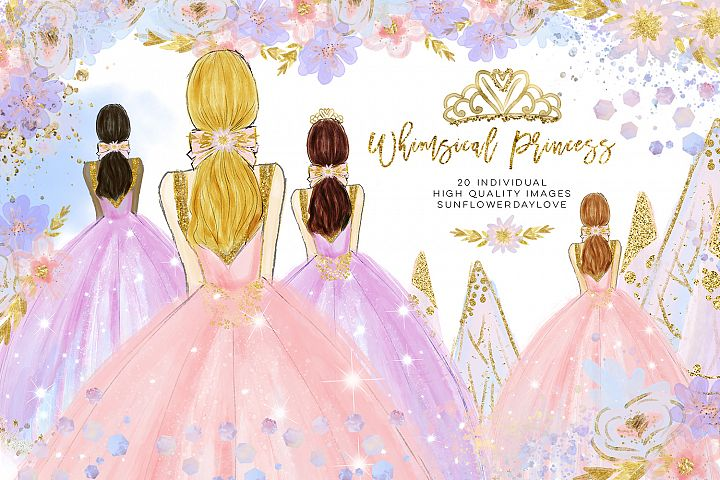 winter princess clip art, fashion clipart