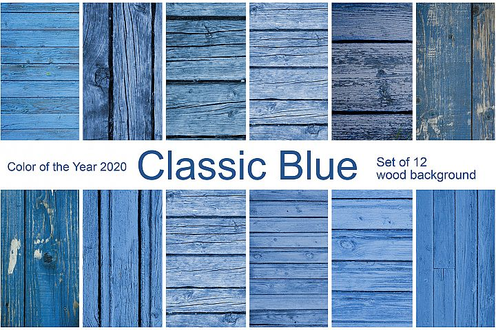 Classic Blue. 12 wood background. Color of the year 2020