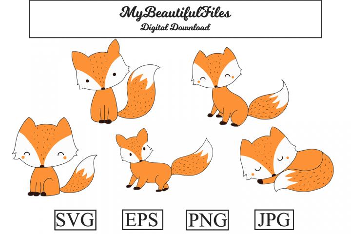 Fox SVG - Cartoon Cute Animal SVG, EPS, PNG and JPG