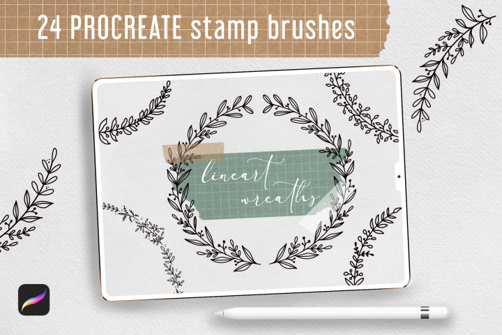 24 Procreate Stamp Brushes. Botanical Wreaths Laurel Lineart