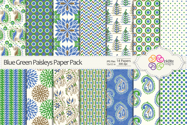 Blue & Green Paisleys Paper Pack