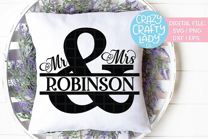 Mr & Mrs Split Ampersand Wedding SVG DXF EPS PNG Cut File