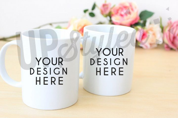 Two White Mugs Stock Photo F164