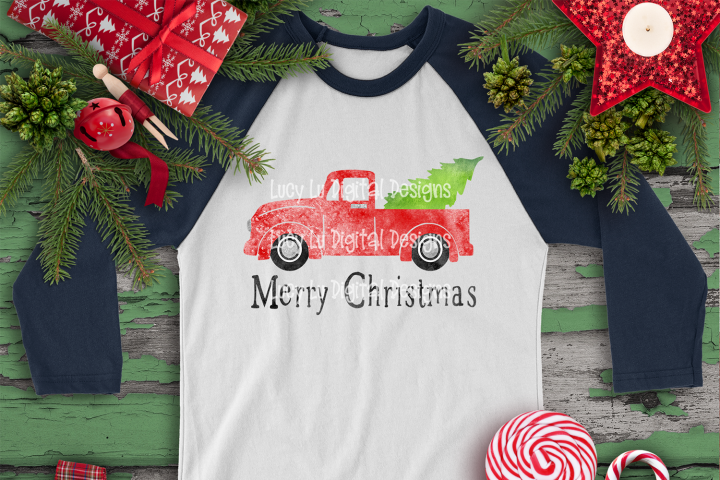 CHRISTMAS - Watercolor Merry Christmas Truck