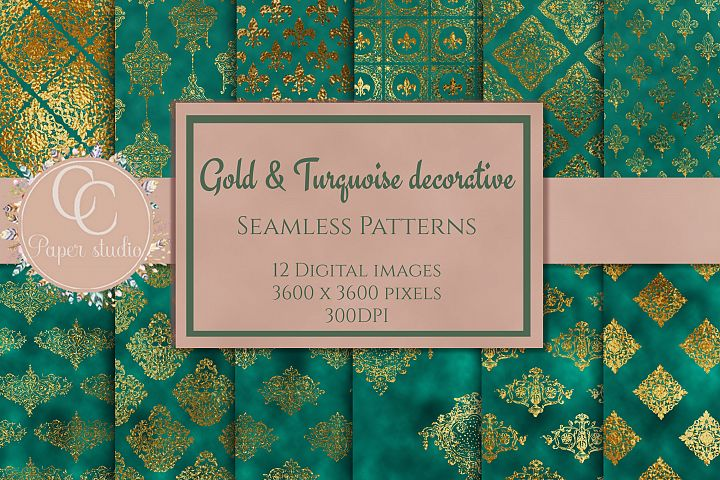 Gold and Turquoise damask digital paper
