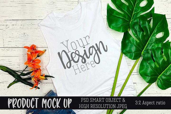 Summer beach tank top Craft mock up | PSD & JPEG