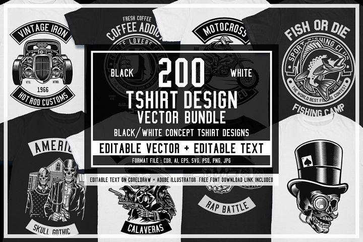200 Vector Tshirt Designs B/W Concept