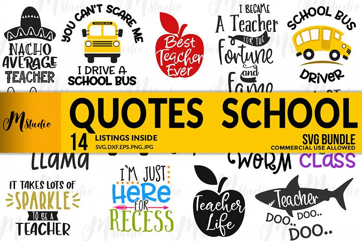 Quotes School Bundle Svg.