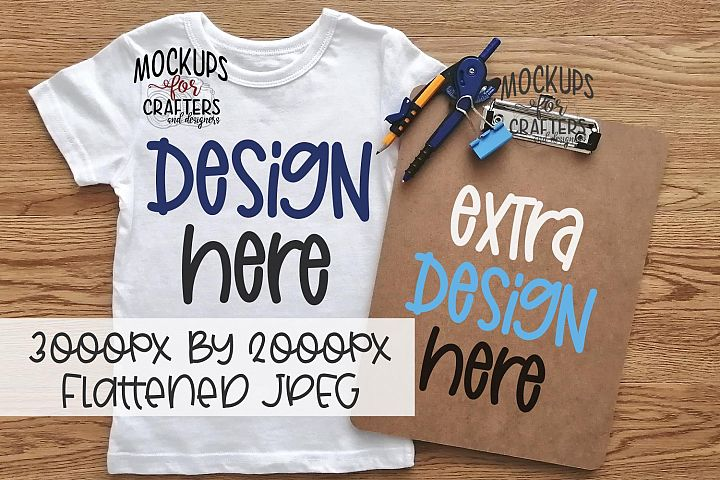 Youth T-Shirt & Clipboard DUO, school theme, MOCK-UP