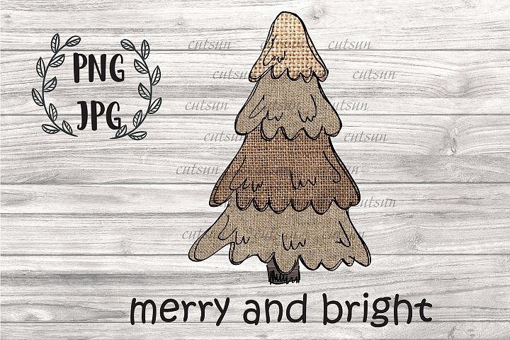 Christmas tree PNG| Hand drawn Burlap Christmas tree