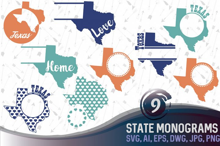Texas Monograms SVG, JPG, PNG, DWG, CDR, EPS, AI
