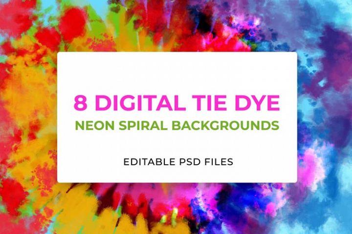 8 Neon Digital Tie-Dye Backgrounds