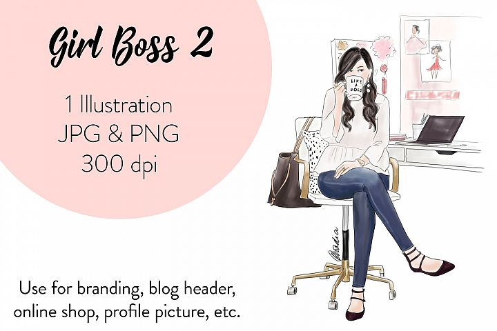 Fashion illustration clipart - Girl Boss 2