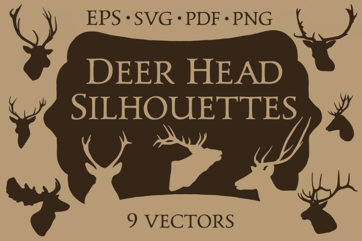 9 Vector Deer Head Silhouettes
