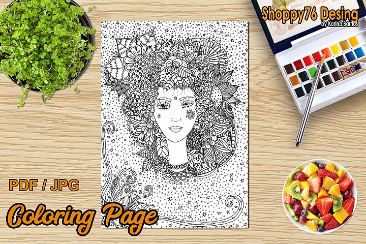 Goddess Flora / Coloring Page