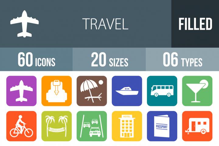 60 Travel Filled Round Corner Icons