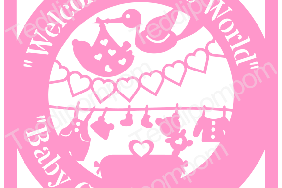 Baby SVG, Welcome to the World Baby Girl Birth Announcement Papercut, SVG Cutting File , Papercutting, Card Making