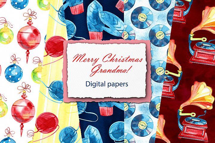 Grandma Christmas digital papers