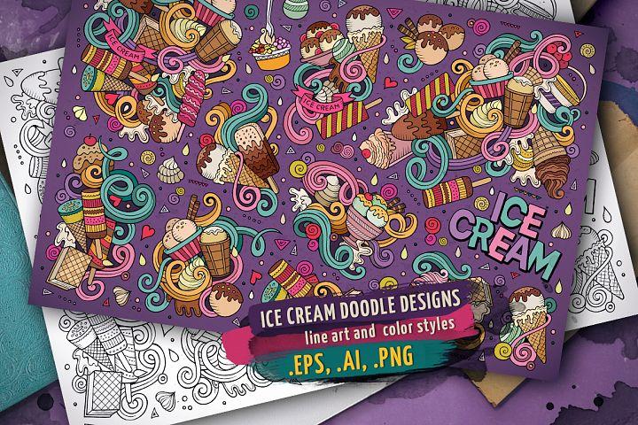 ICE CREAM Doodle Designs Set
