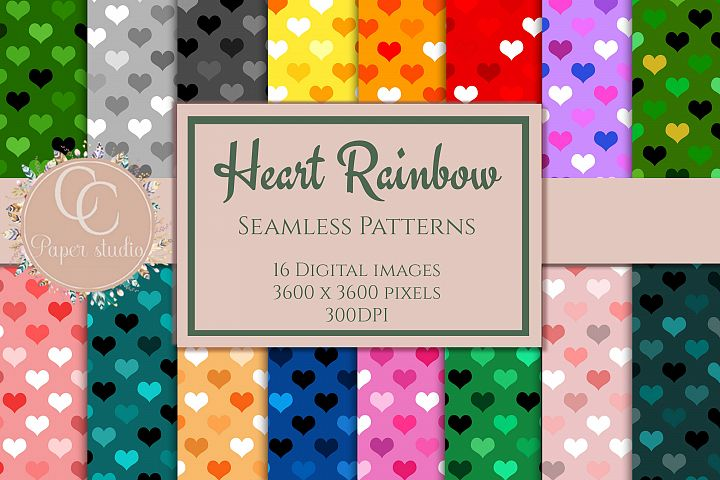 16 Rainbow coloured heartpattern digital paper