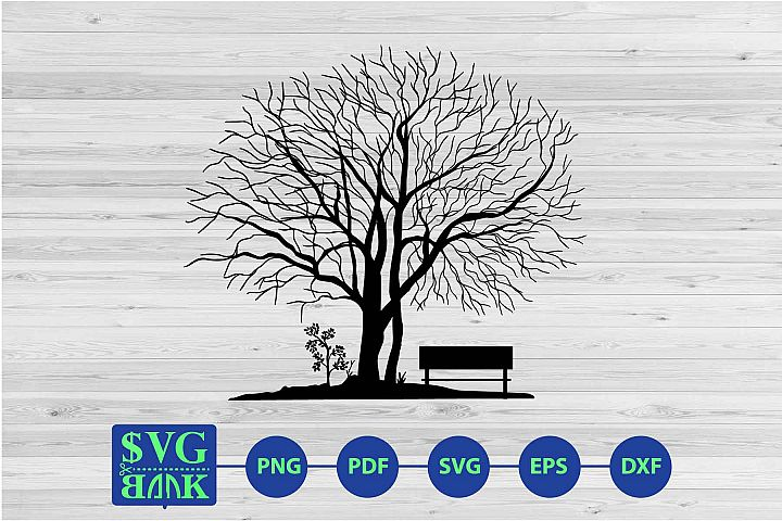 Dry tree and bench svg cut file