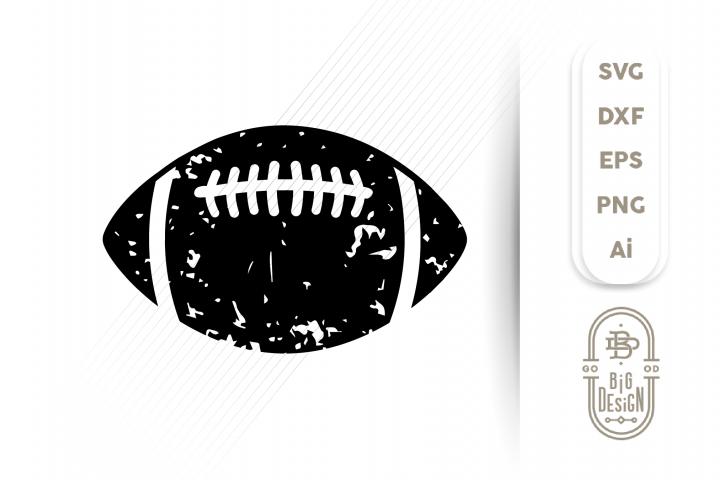 Football SVG - Distressed Football Ball Silhouette Svg