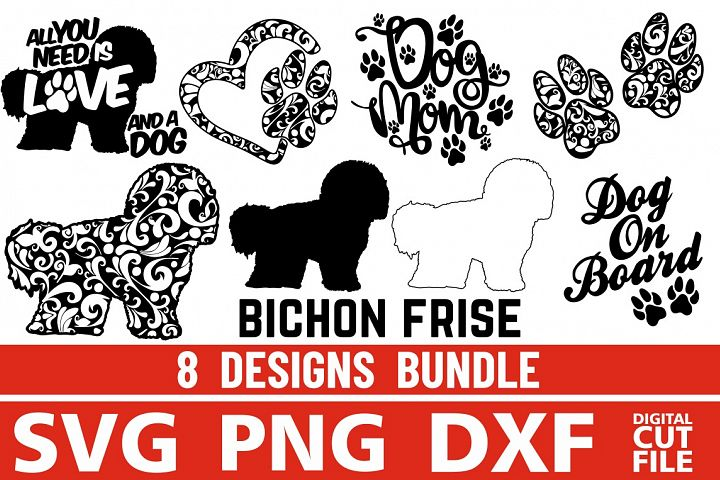 8x Bichon Frise Bundle svg ,Dog Shapes svg, Silhouettes, Paw