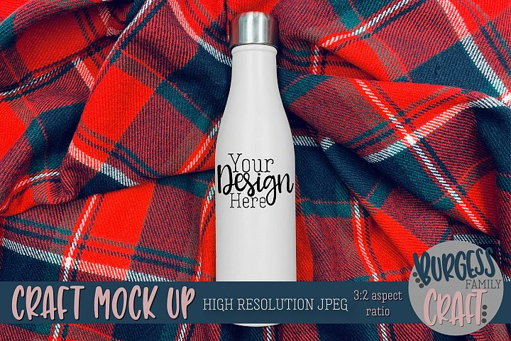 Bottle on Plaid Craft mock up |High Resolution JPEG