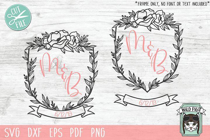 Monogram Frame SVG, Wedding Monogram, Crest, Flower Frame