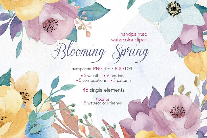 Blooming Spring Flowers Watercolor Clipart