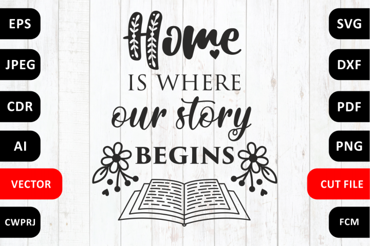 Love Family SVG Quote cut file. Home is where our story