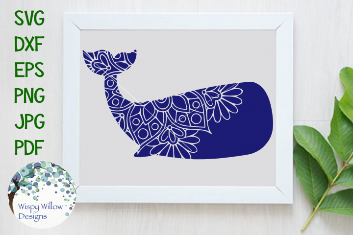 Whale Mandala, Ocean Animal SVG Cut File