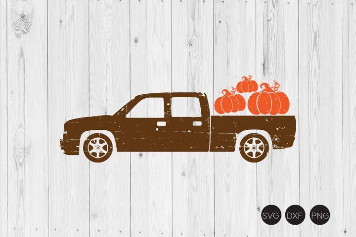 Distressed Pumpkin Truck SVG, Fall SVG