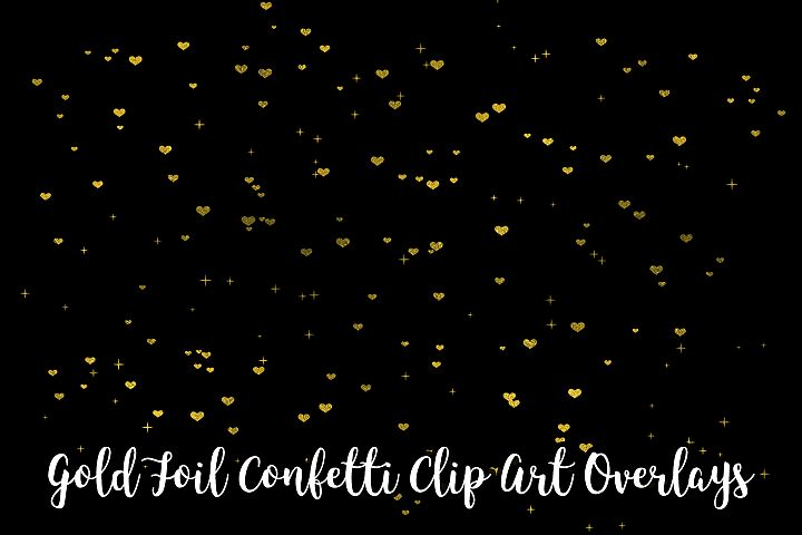 Gold Foil Confetti Clip Art Overlays, Transparent PNG