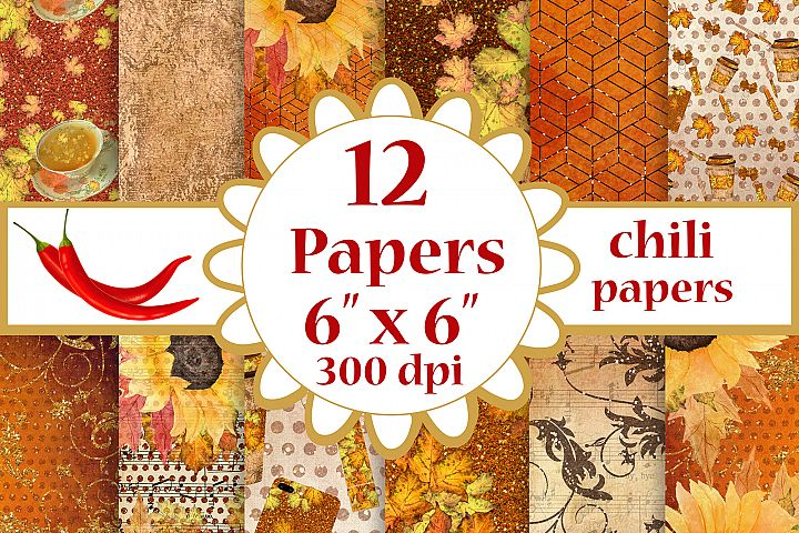 Fall digital papers, Sunflower papers,Autumn paper pack, 6x6
