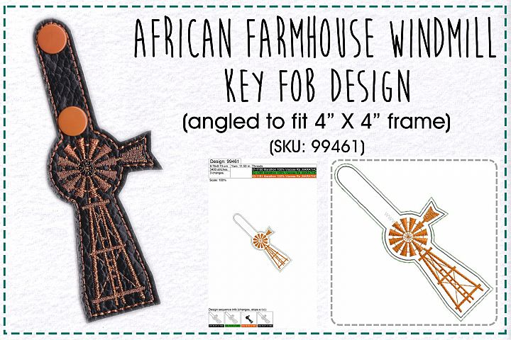 African Farmhouse Windmill Key Fob Embroidery Design