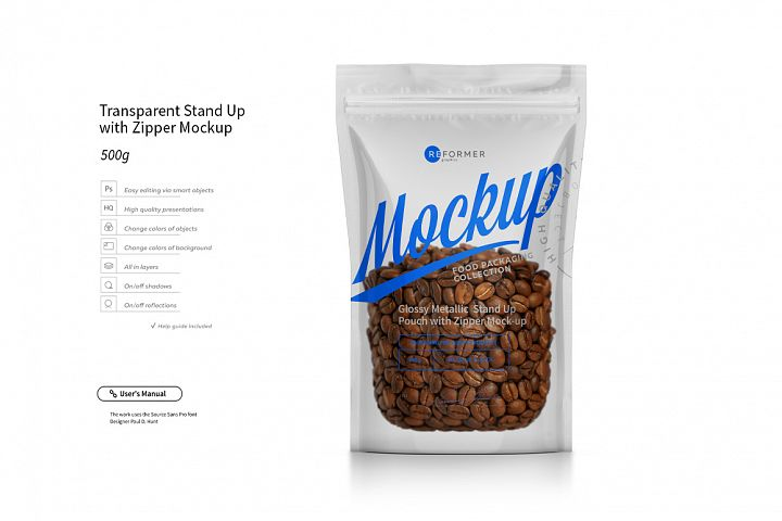 Transparent Stand Up with Zipper Mockup